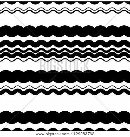 Wavy (zigzag) Lines Repeatable Pattern - Irregular Monochrome Pattern With Wavy, Zigzag Lines