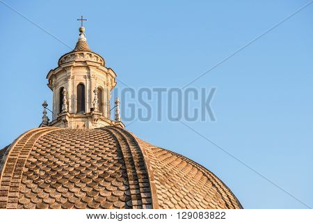 the dome of one of the twins church in Popolo square in Rome