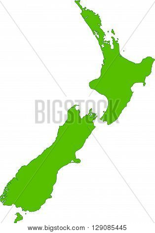 Green New Zealand map on a white background.