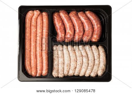 raw meat sausages in the container, isolated on white