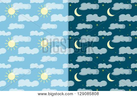 colorful vector seamless pattern. Day and night sky elements. Elements for your design. Eps10