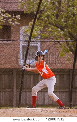 Morton Grove, IL, USA - 05.06.2106. Youth Baseball Match between Norwood Park Team and Morton Grove Park Team took place in Morton Grove, IL on 05.06.2016