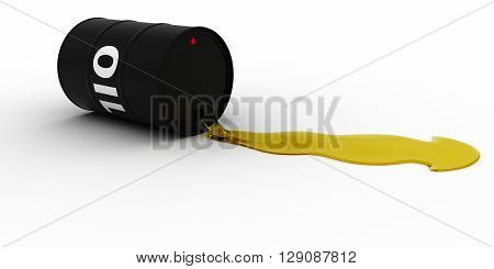 Black Oil Barrel Leaking Golden Oil 3D Illustration