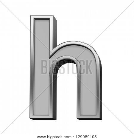 One lower case letter from gray with silver frame alphabet set, isolated on white. 3D illustration.