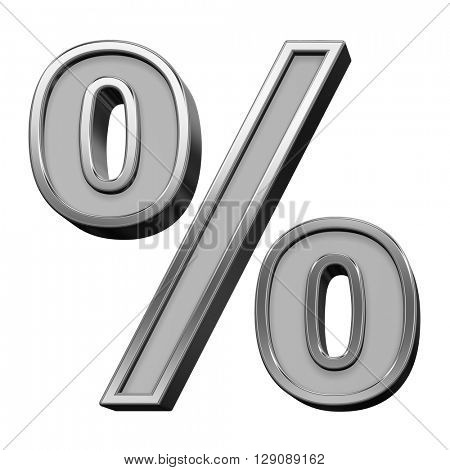 Percent sign from gray with silver frame alphabet set, isolated on white. 3D illustration.