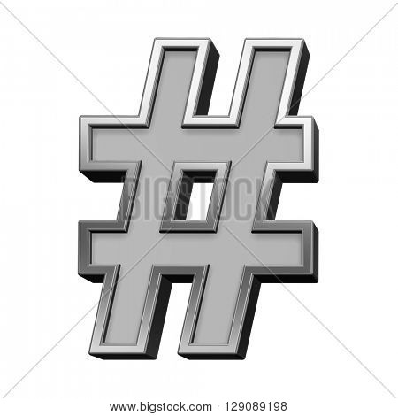 Number sign from gray with silver frame alphabet set, isolated on white. 3D illustration.