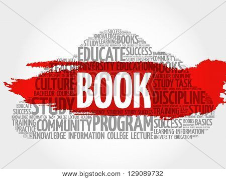 BOOK. Word cloud education collage, presentation background