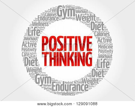 Positive thinking word cloud health concept, presentation background