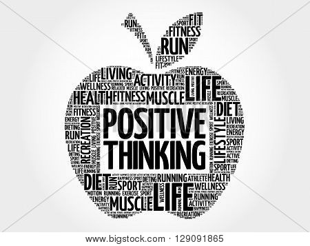 Positive thinking apple word cloud health concept, presentation background