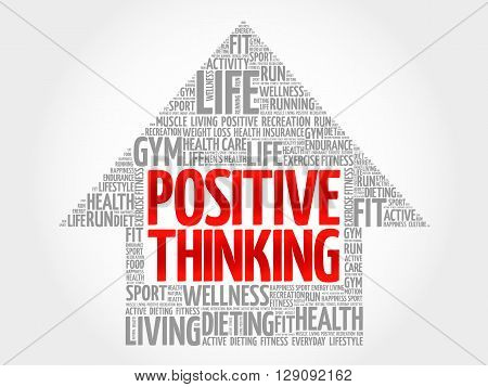 Positive thinking arrow word cloud health concept, presentation background