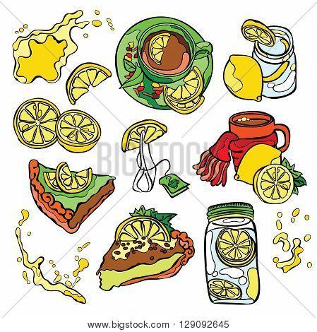 Lemon pattern: lemon fruit, pastries, lemon pie, lemon tea. Refreshing lemon juice and cocktail. Splash and drops. Isolated vector object on white background.