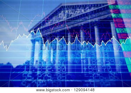 Stocks and shares against historical monument