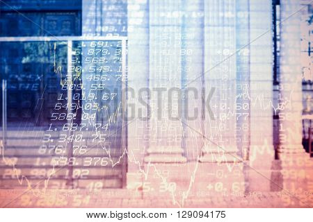 Large building in a city against stocks and shares
