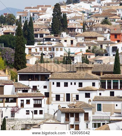 view from above the old town of Granada, Andalusia, Spain