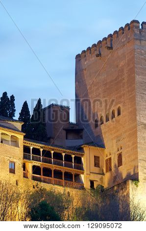 famous view of the Alhambra in Granada, Andalusia, Spain