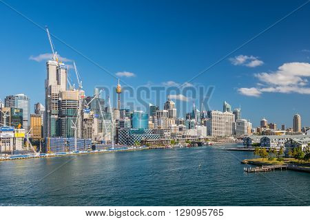 Sydney Australia - November 11 2014: View of the Sydney's business district and Darling harbour Sydney New South Wales Australia. Barangaroo is a new part of the Sydney CBD located on the western harbour foreshore.