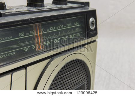 Frequency wave retro radio on background .