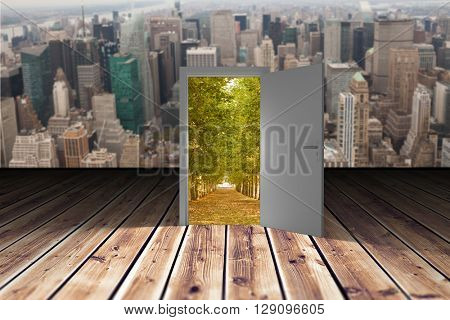Illustration of open door against wooden planks