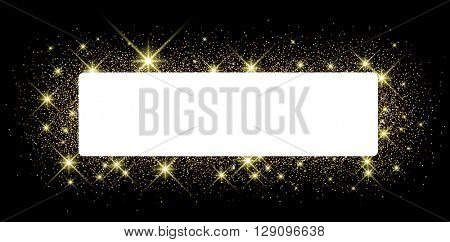 Black shining banner with sand. Vector paper illustration.