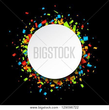 Round festive background with color confetti. Vector paper illustration.