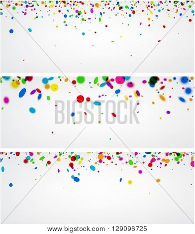 Paper banners set with color confetti. Vector illustration.