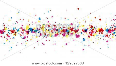 Paper banner with color painted drops. Vector illustration.