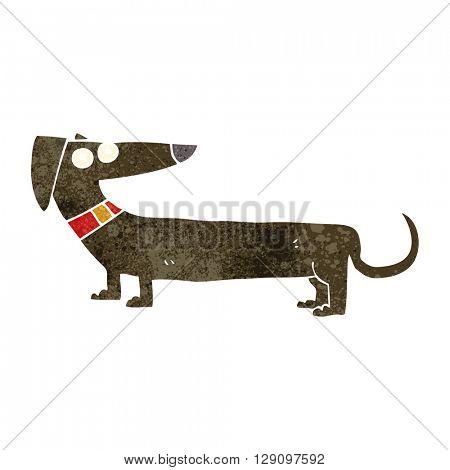 freehand retro cartoon sausage dog