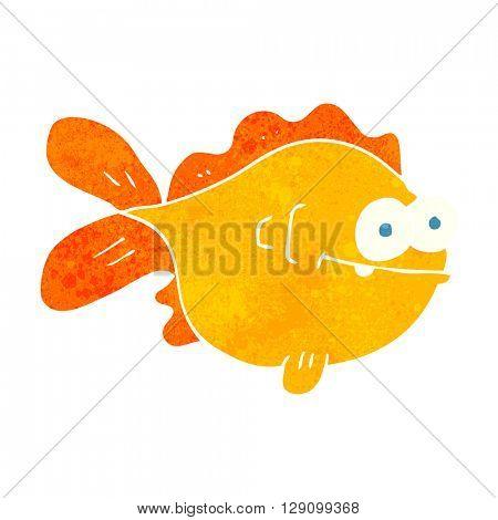 freehand retro cartoon fish