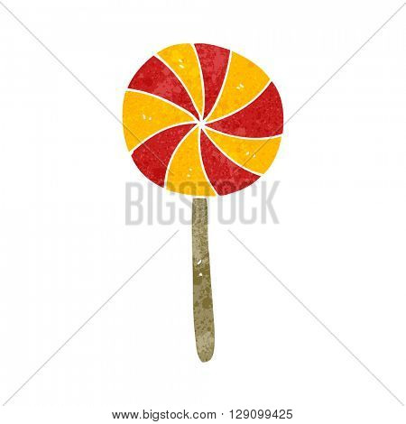 freehand retro cartoon candy lollipop