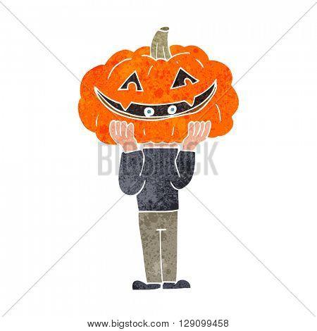 freehand retro cartoon pumpkin head halloween costume