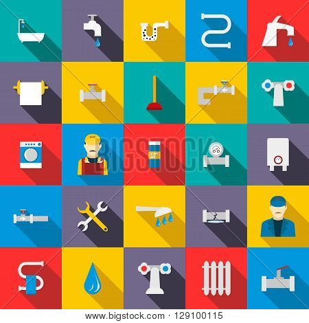 Plumbing icons set use for any design