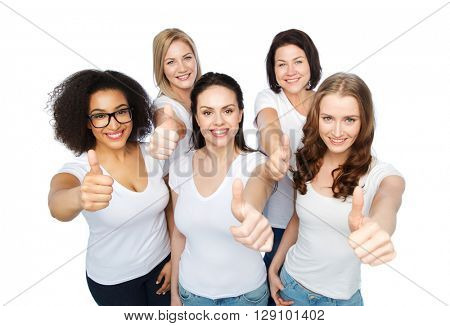 friendship, diverse, body positive, gesture and people concept - group of happy different size women in white t-shirts showing thumbs up