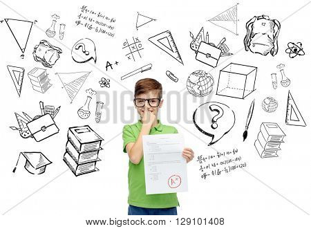 childhood, school, education, learning and people concept - happy smiling boy in eyeglasses holding paper with test result with doodles