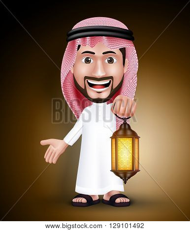 Saudi Arab Man Wearing Thobe Holding Lantern in the Night for the Muslim Holy Month of Ramadan. Vector Illustration