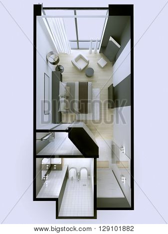 Interior of 3 star hotel apartments in white and gray colors roofless. 3D render