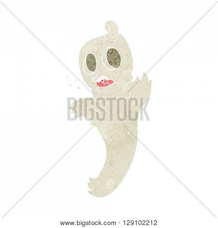 freehand retro cartoon ghost