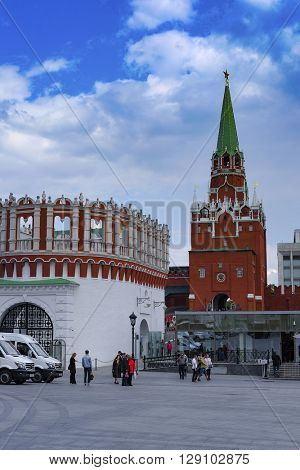 Moscow, Russia - May, 6, 2016: Troitskaya Tower of the Moscow Kremlin, Russia