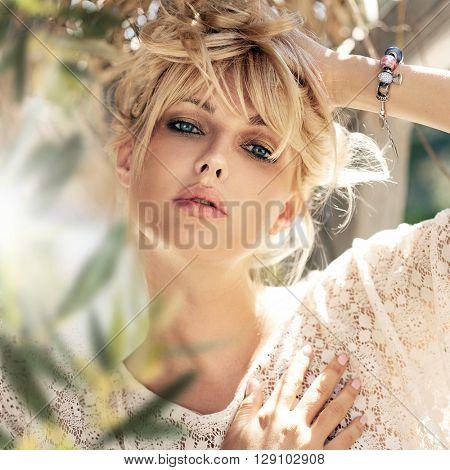 Closeup portrait of beautiful girl