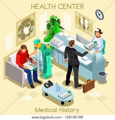 Clinic patient medical history waiting room before medical visit. Hospital clinic reception patients waiting medical consult. Healthcare 3D flat isometric people collection