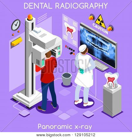 Clinic dental panoramic teeth x ray radiography oral imaging dental centre dentist and patient. Flat 3D isometric people dentistry clinic room dental visit.