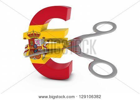 Spain Price Cut/deflation Concept - Spanish Flag Euro Symbol Cut In Half With Scissors - 3D Illustra