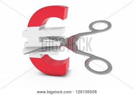 Austria Price Cut/deflation Concept - Austrian Flag Euro Symbol Cut In Half With Scissors - 3D Illus