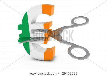 Ireland Price Cut/deflation Concept - Irish Flag Euro Symbol Cut In Half With Scissors - 3D Illustra