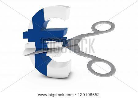 Finland Price Cut/Deflation Concept - Finnish Flag Euro Symbol Cut in Half with Scissors - 3D Illustration poster