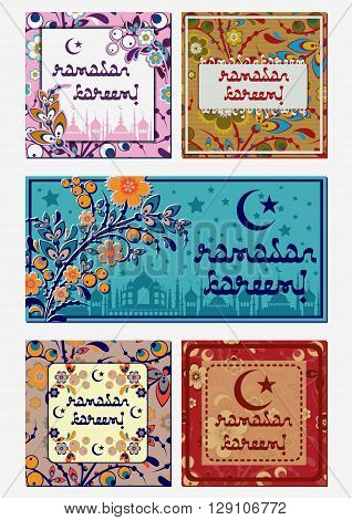 Greeting mini cards with oriental floral ornament in eastern colors. Postcard in five variants for greeting with Islamic holidays Ramadan, Eid al-Fitr (Feast of Breaking Fast), Eid al-Adha (Feast of Sacrifice). Vector illustration