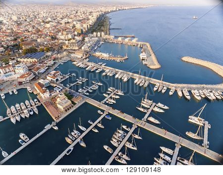 LIMASSOL, CYPRUS, 18 March, 2016: Aerial view of the beautiful Marina in Limassol city in Cyprus the beach boats piers villas commercial area old port (palio limani) and Molos. A very modern high end and newly developed space where yachts are moored and i