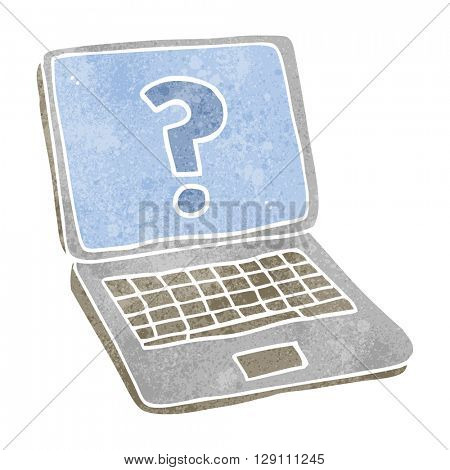 freehand retro cartoon laptop computer with question mark