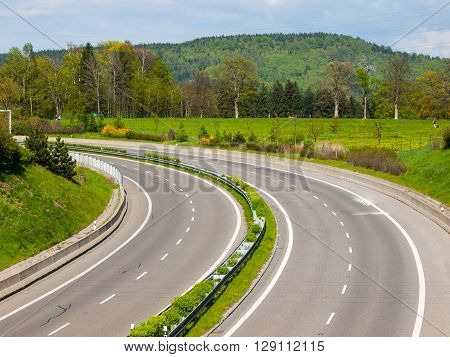 Two-lane highway without cars turned to the left