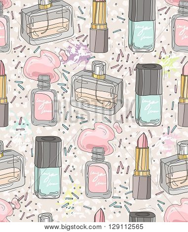 Seamless beauty pattern with make up, perfume, nail polish. Background for girls or women