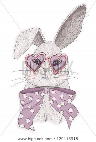 Cute hipster rabbit with glasses. Fashion bunny illustration